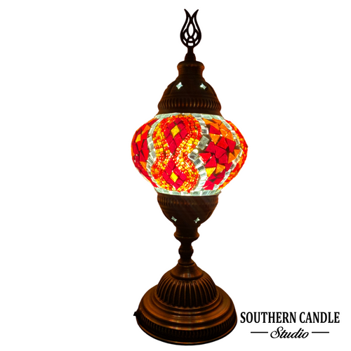 Garnet Kilim Boho Handcrafted Medium Mosaic Table Lamp
