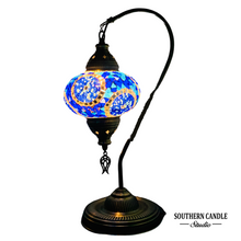 Load image into Gallery viewer, Dolmabahce Boho Handcrafted Large Swan Neck Mosaic Table Lamp