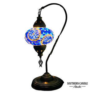 Dolmabahce Boho Handcrafted Large Swan Neck Mosaic Table Lamp