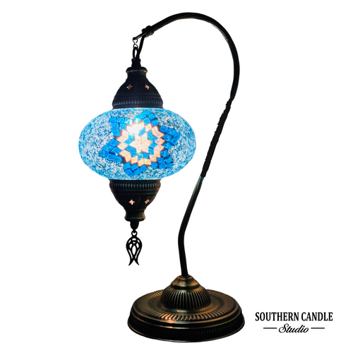 Bodrum Cove Boho Handcrafted Large Swan Neck Mosaic Table Lamp