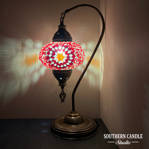 Seven Hills Boho Handcrafted Large Swan Neck Mosaic Table Lamp