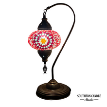 Load image into Gallery viewer, Seven Hills Boho Handcrafted Large Swan Neck Mosaic Table Lamp