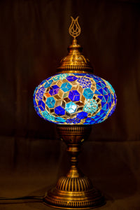 Large Mosaic Lamp- Blue 1 - Southern Candle Studio