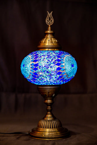 Large Mosaic Lamp-  Blue 2 - Southern Candle Studio
