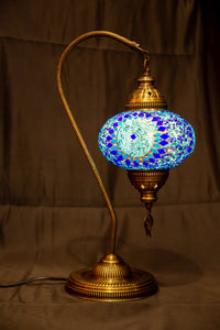 Large Swan Neck Mosaic Lamp- Blue 1 - Southern Candle Studio