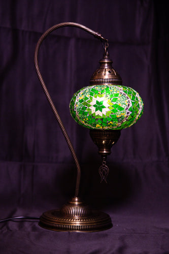Large Swan Neck Mosaic Lamp- Green - Southern Candle Studio