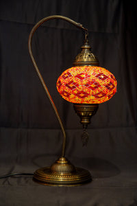 Large Swan Neck Mosaic Lamp- Red - Southern Candle Studio