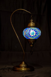Medium Swan Neck Mosaic Lamp-Blue - Southern Candle Studio