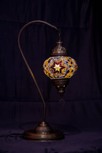 Medium Swan Neck Mosaic Lamp-Brown - Southern Candle Studio