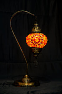 Medium Swan Neck Mosaic Lamp-Red - Southern Candle Studio