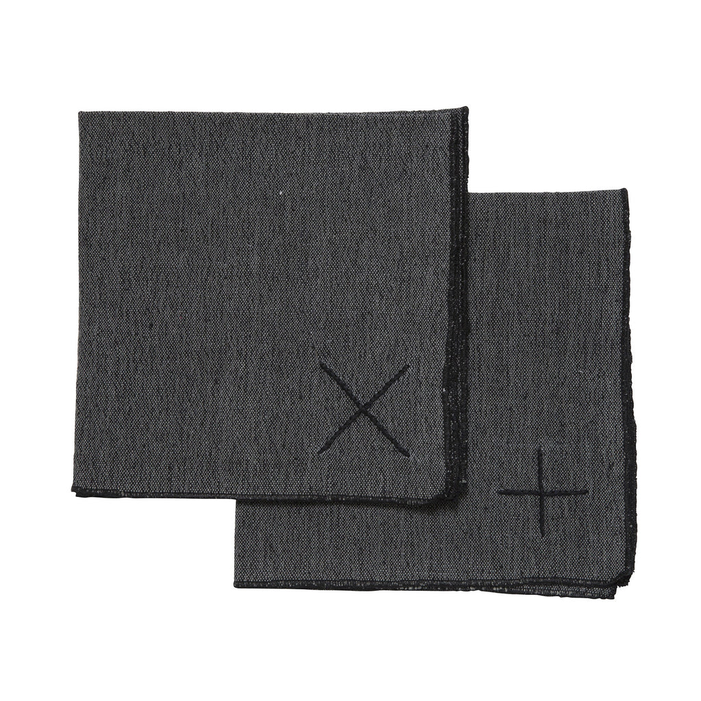 embroidered napkins set - charcoal