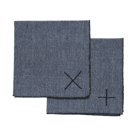 embroidered napkins set - denim