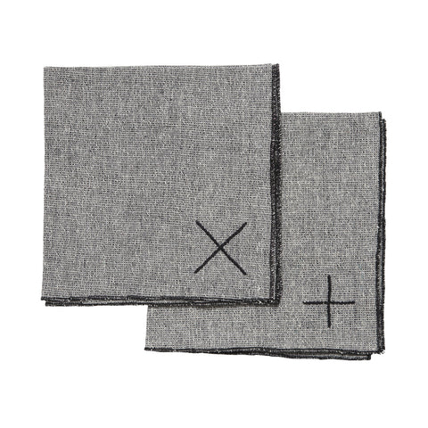 embroidered napkins set - grey