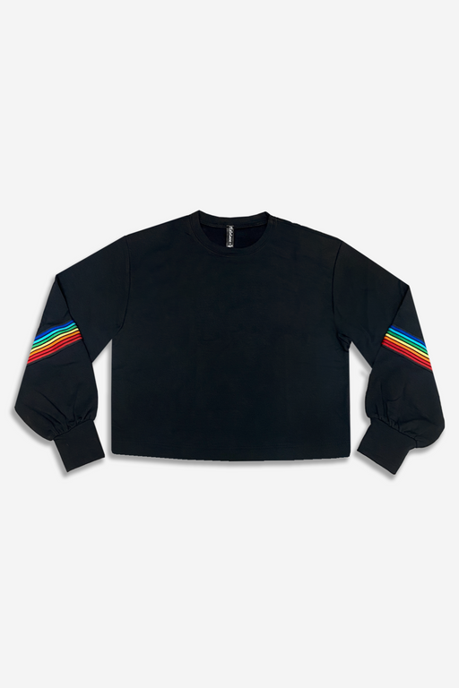 Balloon Sleeve Crew Sweatshirt - Black Rainbow Tape
