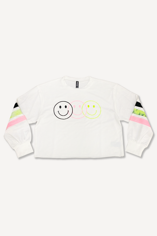 Balloon Sleeve Skimmer Sweatshirt - Ivory Smiley Stripes