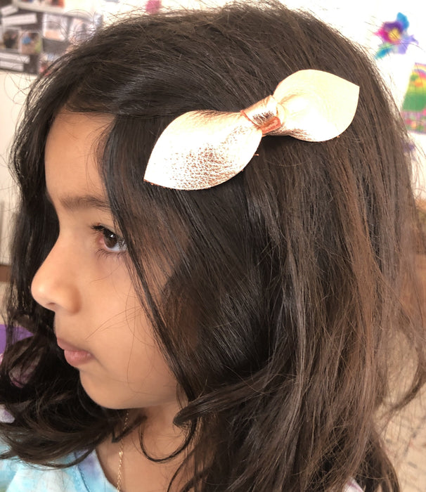 Girls Large Knot Leather Hair Bow Clip - Rose Gold