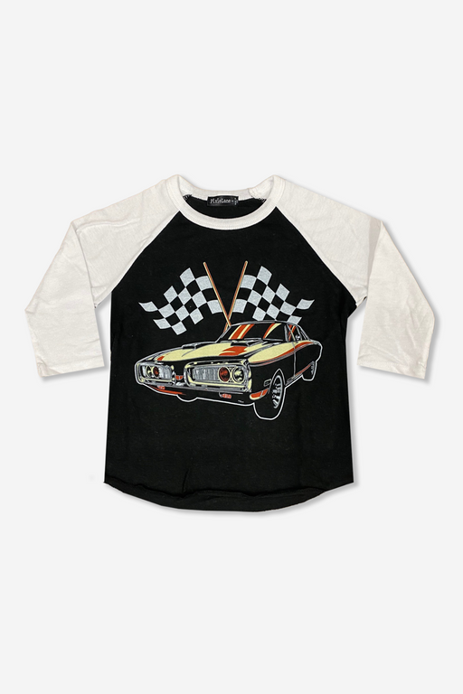 Boy's Raglan Graphic Top - Black White Racecar