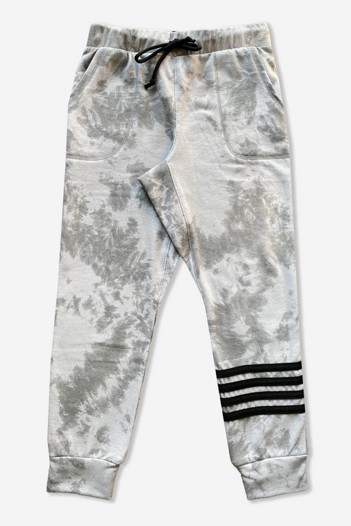 Boy's Jogger - Grey White Tie Dye Strapping