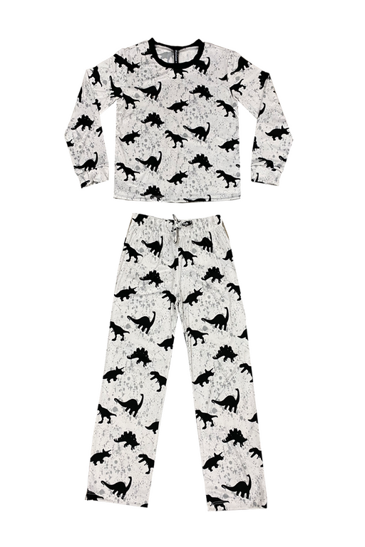Boy's Long Sleeve Crew & Relaxed Lounge Bottom - Grey Black Dinosaurs