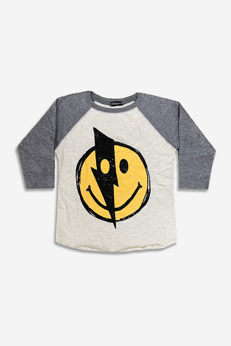 Boy's Raglan Graphic Top - Oatmeal Heather Smiley