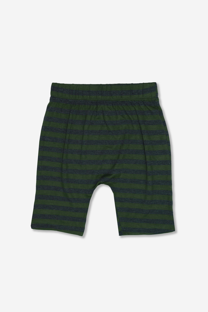Boy Harem Short - Olive/Charcoal Stripe
