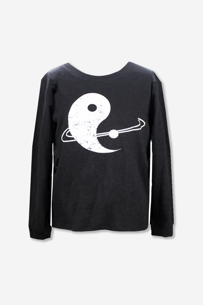 Boys Crew Neck Graphic Top - Black Yin-Yang Planet