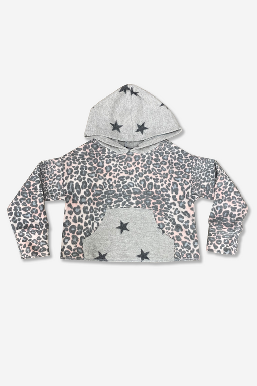 Colorblock Cropped Hoodie - Blush Leopard Stars