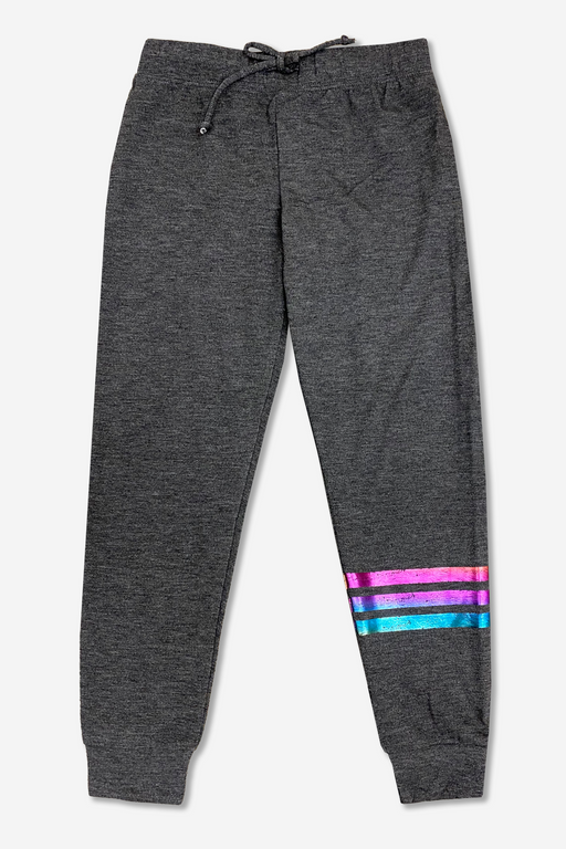 Cozy Sweatpant - Charcoal Rainbow Foil Stripes