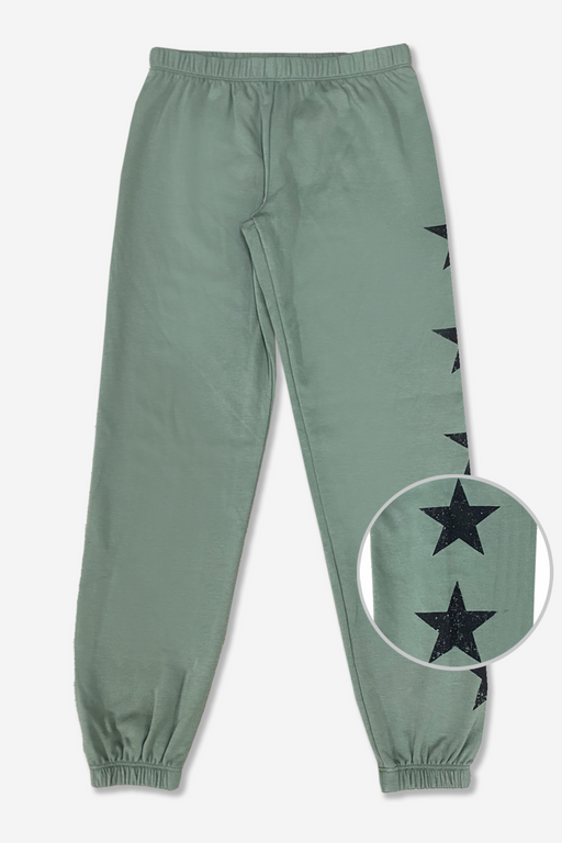 Cozy Sweatpant - Grey Olive Stars
