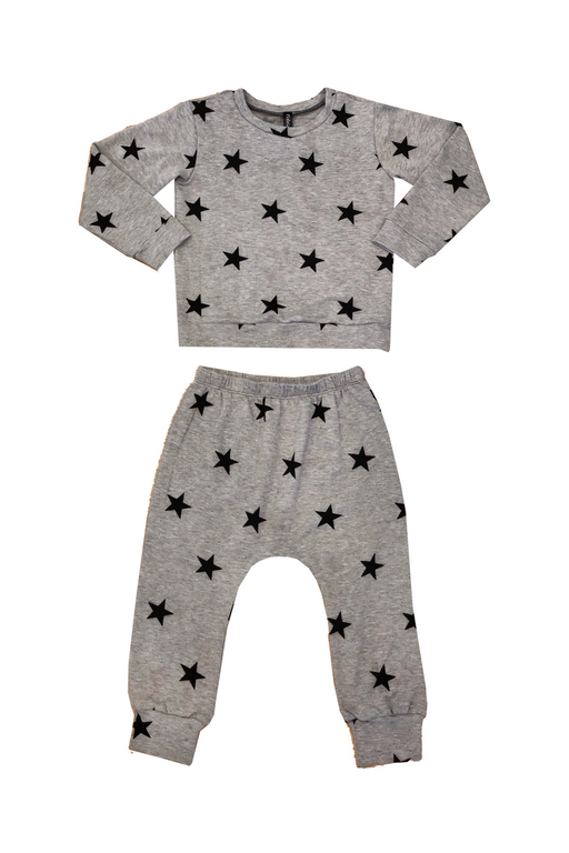 Crew Sweatshirt & Harem Set - Grey Black Stars