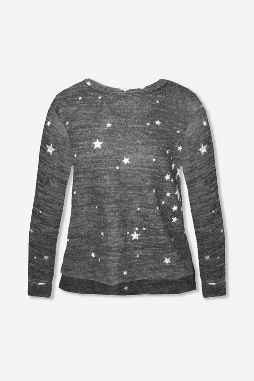 Cozy Boxy Step Hem Top - Black/H.Grey Stars