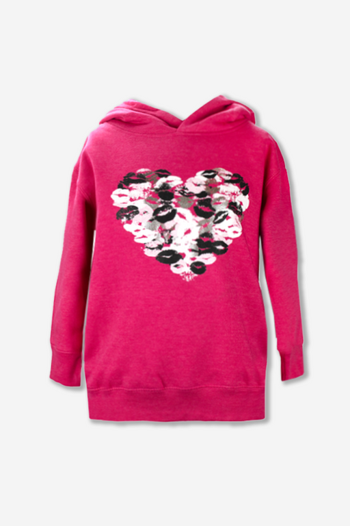 Cozy Pullover Hoodie - Raspberry Foil Kisses
