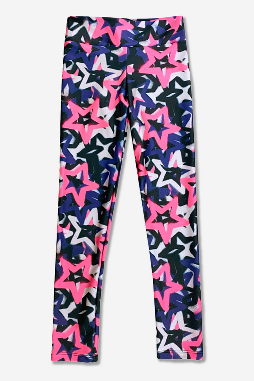 High-Shine Long Legging - Mid Rise - Pink Graffiti Star