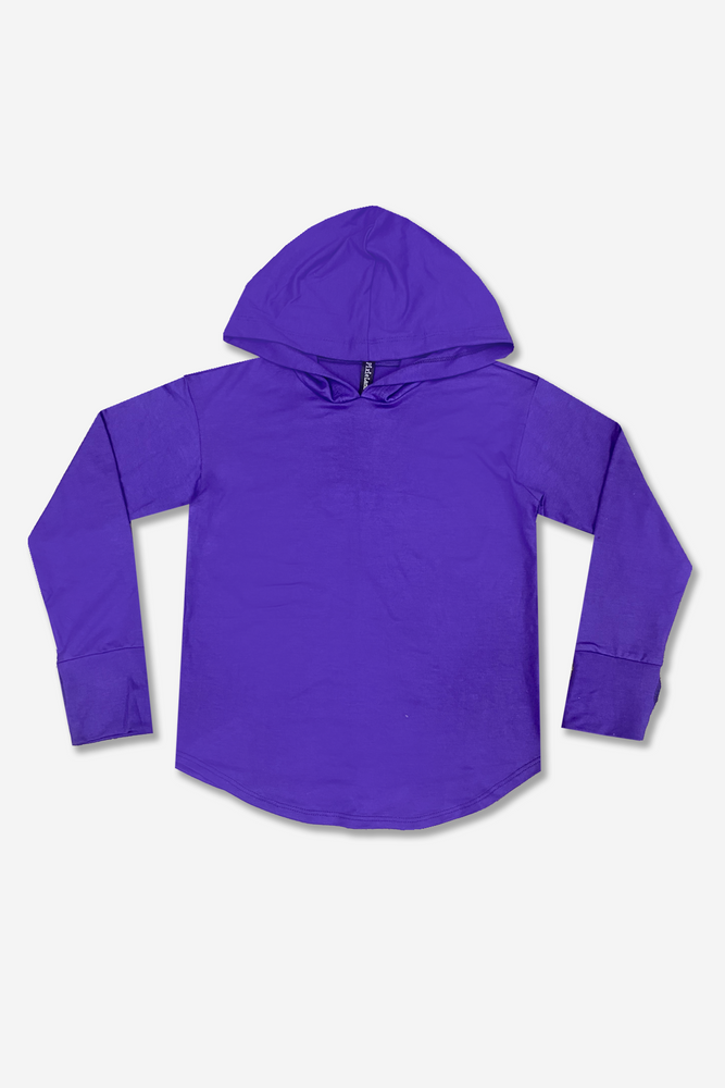 Knit Hoodie Pullover w/ Thumbholes - Heather Purple