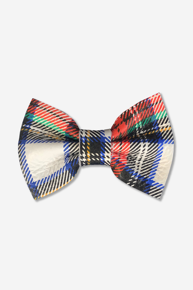 Girls Leather Hair Bow Clip - Holiday Plaid