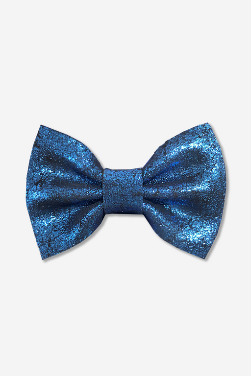 Girls Leather Hair Bow Clip - Metallic Blue