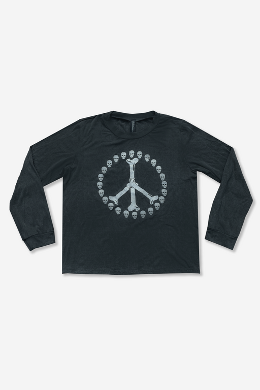 Long Sleeve Crew - Washed Black Bones Peace Sign