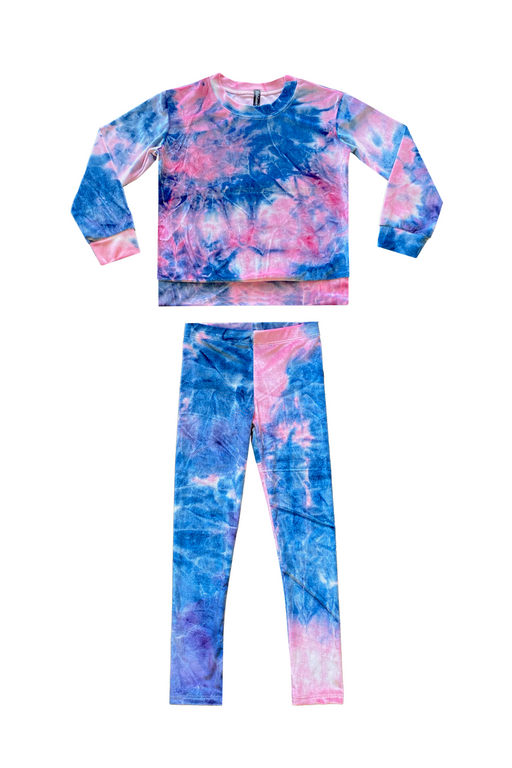 Long Sleeve Crew Sweatshirt & Legging Set - Pink Navy Tie Dye Velvet