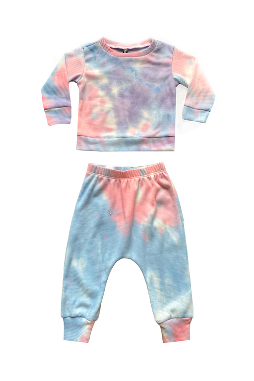 Long Sleeve Crew Top & Harem Set - Pink Blue Cotton Candy