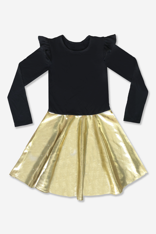 Long Sleeve Ruffle Skater - Specialty - Black Gold