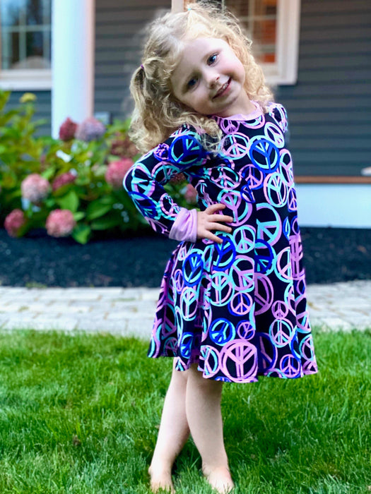 Long Sleeve Twirl Dress - Black Multi Peace Sign