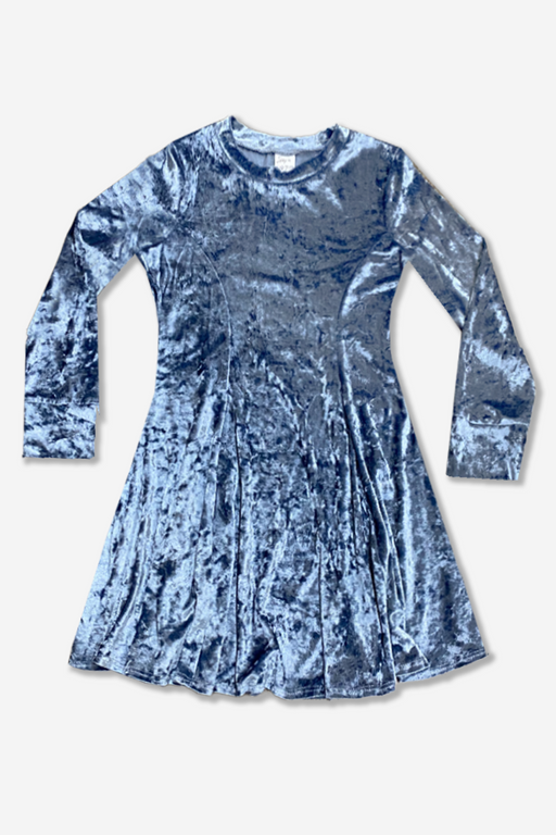 Long Sleeve Twirl Dress - Slate Blue Velvet