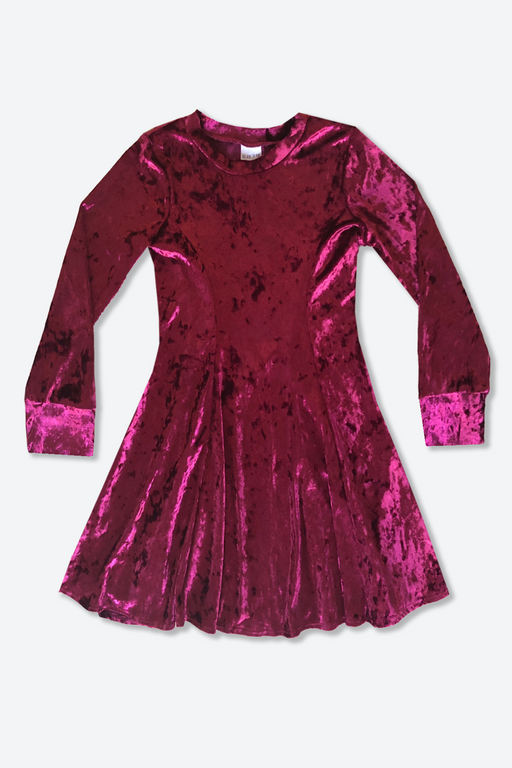 Long Sleeve Twirl Dress - Wine Velvet
