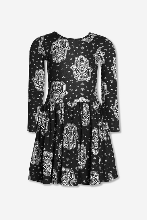 Long Sleeve Be Happy Dress - Black/White Hamsa