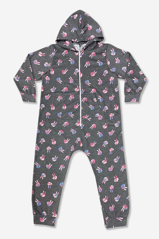 Onesie - Charcoal Tie Dye Peace Sign