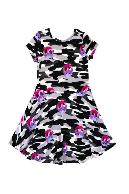 Short Sleeve Skater Dress - Camo Dripping Peace Sign