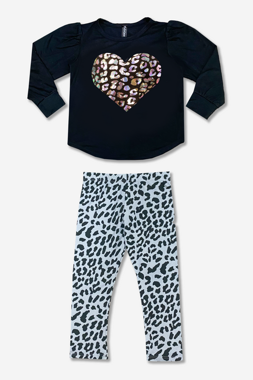 Puff Shoulder Top & Long Legging Set - Leopard Foil Heart