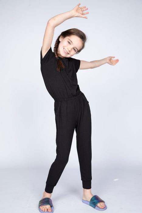 Short Sleeve Jumpsuit -  Solid Black