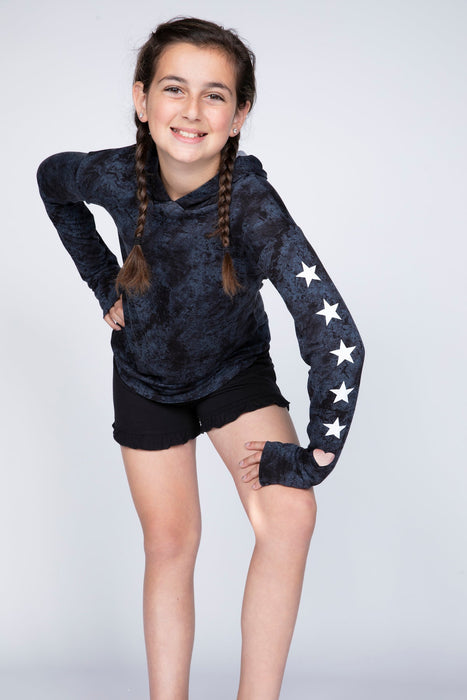 Knit Hoodie Pullover w/Thumbholes - Black Stars Heart