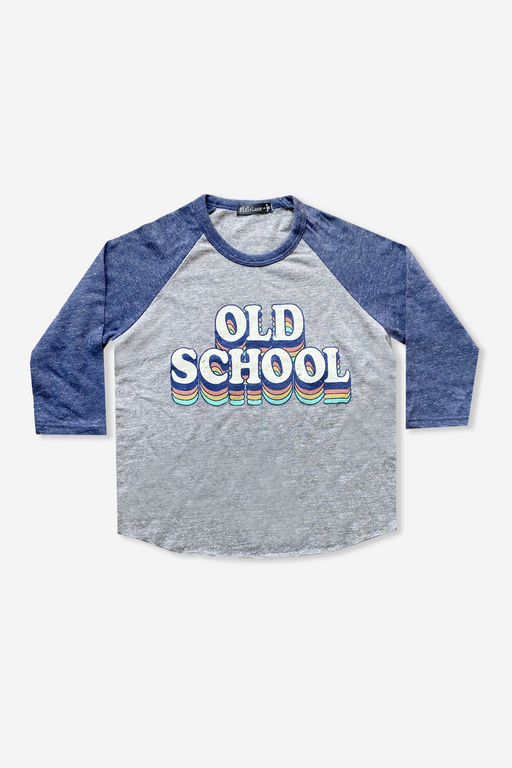Boy's Raglan Graphic Top - Grey Navy Old School